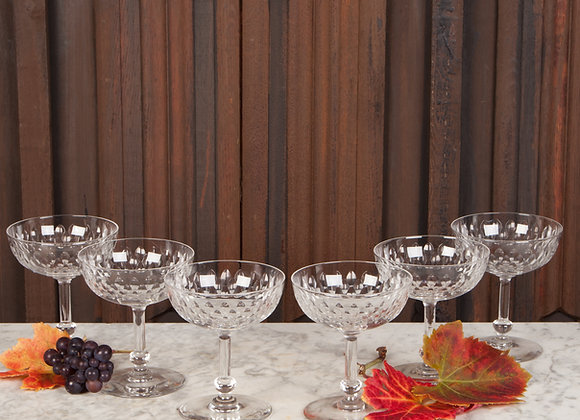 Champagne Coupes with Cut Glass Decoration