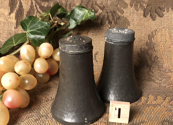 Early 20th Century Pewter Salt and Pepper