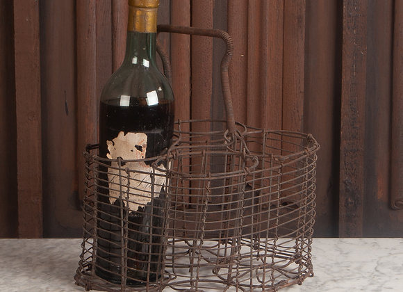 A Late Victorian Wire Bottle Carrier