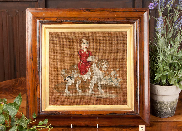 Large Victorian Hand Embroidered Picture of a Child and Dog