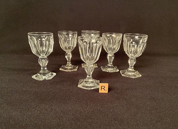 Set of Six Val St Lambert Port Glasses