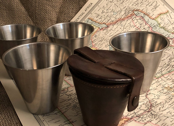 Swedish Travelling Cups in Leather Case