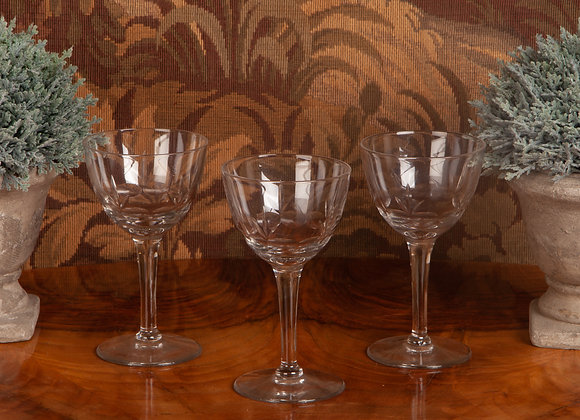 Early 20th Century Cut Wine Glass with Sprig Design - 8 Available