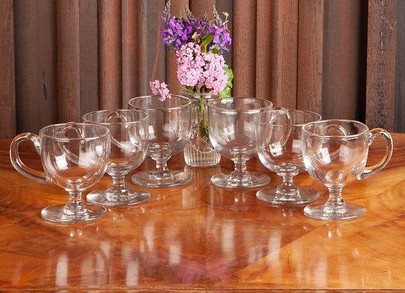6 Victorian Glass Custard/Punch Cups