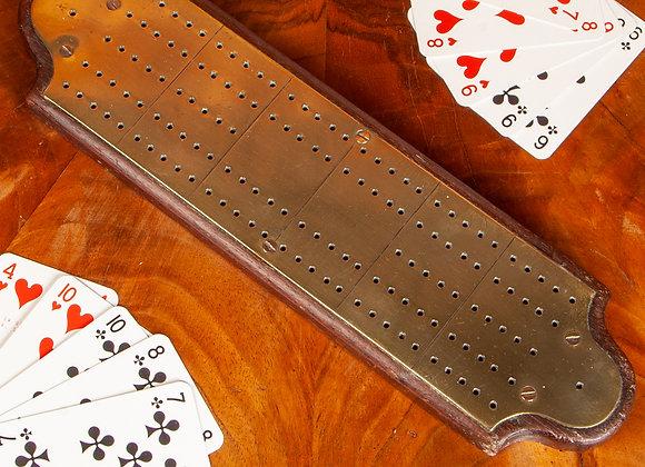 Victorian Brass Cribbage Board