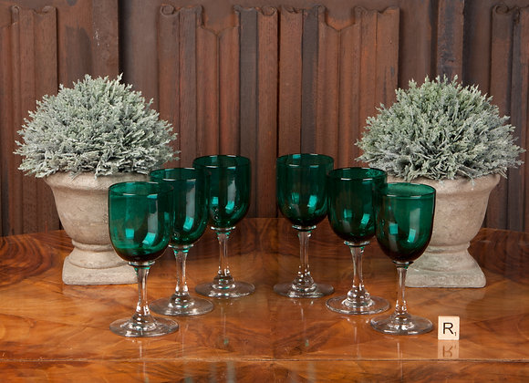Six Late Victorian Green Glasses