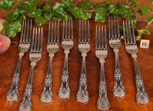 8 Late Victorian Silver Plated Dinner Forks