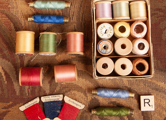 24 Bobbins of Early 20th Century Sewing Thread