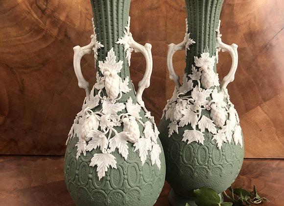 Pair of Victorian Parian Ware Vases