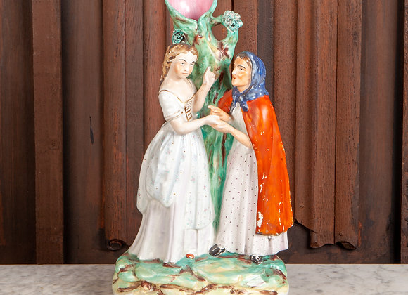 A Large Victorian Staffordshire Spill holder figure of Sleeping Beauty