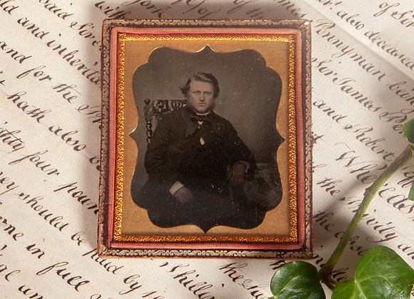 An Early Victorian Ambrotype Photograph of a Gentleman with Mutton Chops