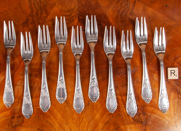 Early 20th Cetury Set of 10 Silver Plated Pasty/Cake Forks