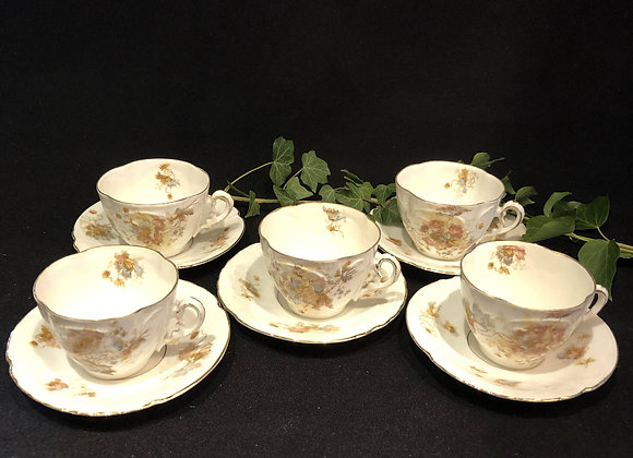 Five Victorian Cups and Saucers