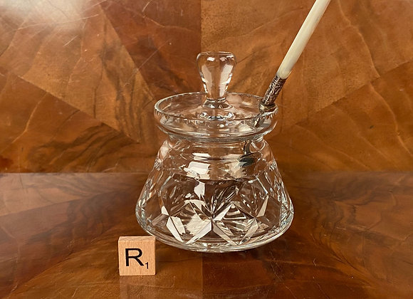 Cut Glass Preserve Jar and Spoon