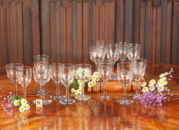 14 x  Victorian Fern Engraved Liqueur/Sherry Glasses