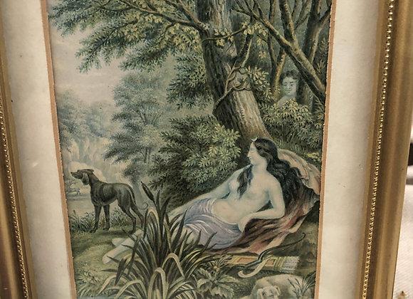 George Baxter Print 'Diana the Huntress'