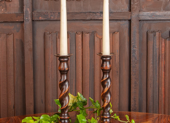A Pair of Early 20th Century Oak Barley Twist Candlesticks