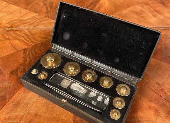 Cased Set of Brass Weights