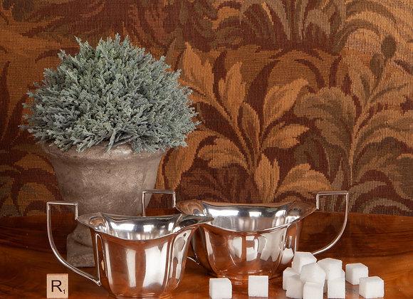 Art Deco Silver Plated Cream and Sugar
