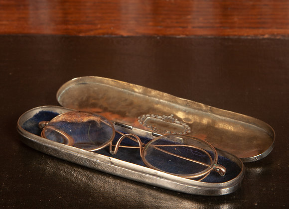 Victorian Brass Spectacle Case with a pair of Gilt Rimmed Glasses