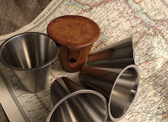 Travelling Cups in Leather Case