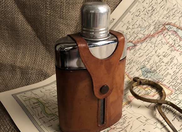 Glass Flask with Cow Hide Casing