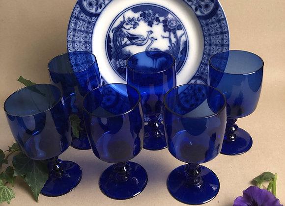 Six Vintage Blue Glass Wine Goblets
