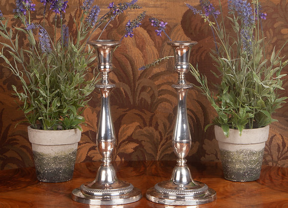 A Large Pair of Early Victorian Old Sheffield Plated Candlesticks