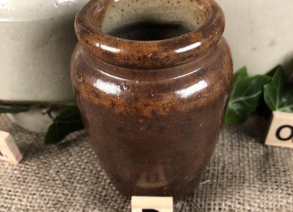 Small Brown Stoneware Pot