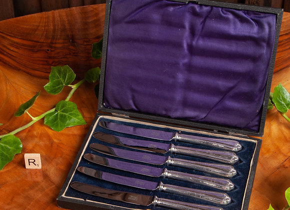 Cased Set of Edwardian Silver Plated Butter Knives