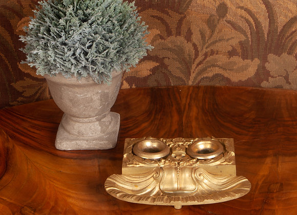 Mid Victorian Gilded Bronze Inkwell