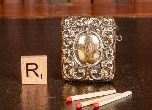 Victorian Ornate Brass Vesta Case