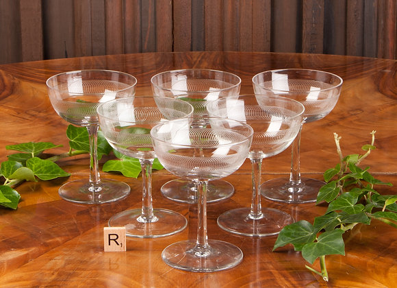 Six Victorian Engraved Champagne Coupes