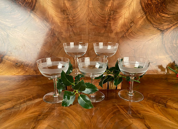 Set of 5 Champagne Coupes