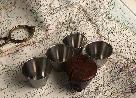 Small Swedish Travelling Cups in Leather Case