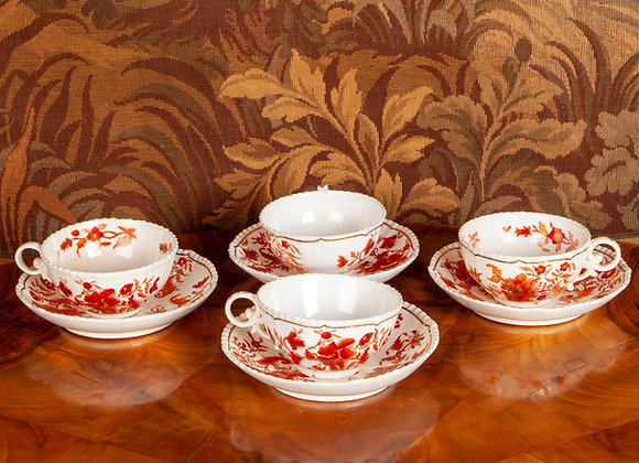 Four Mid-Victorian Breakfast Cups and Saucers