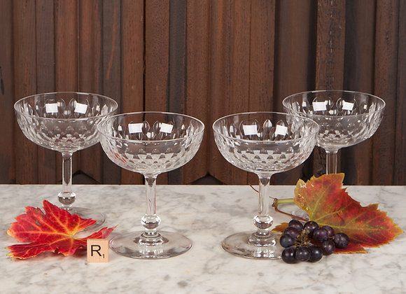 Four Beautifully Cut Champagne Coupes
