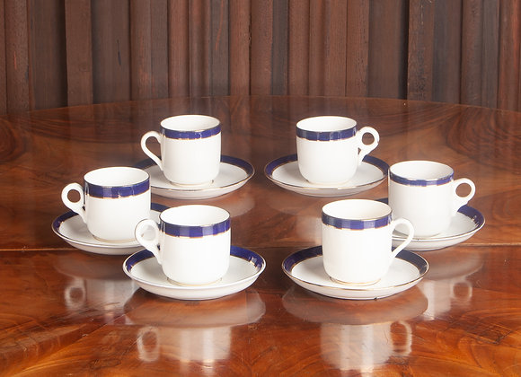 6 Early 20th Century Royal Albert Crown China Coffee Cups and Saucers