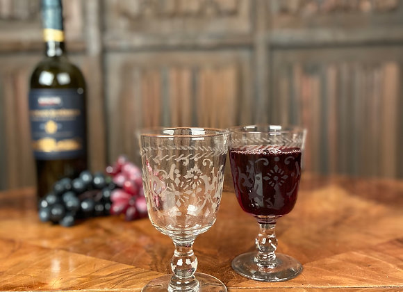 Pair of Etched Wine Glasses
