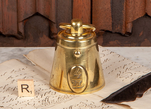 Victorian Brass Inkwell in the Shape of a Weight