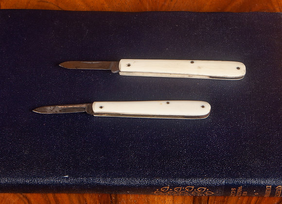2 x Late Victorian Bone Covered Pocket/Pen Knives