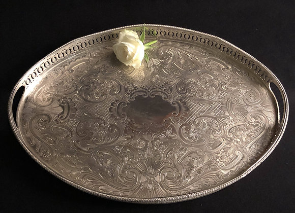 Large Silver Plated Gallery Tray with Handles