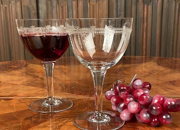 Pair of Edwardian Fine Etched Wine Glasses