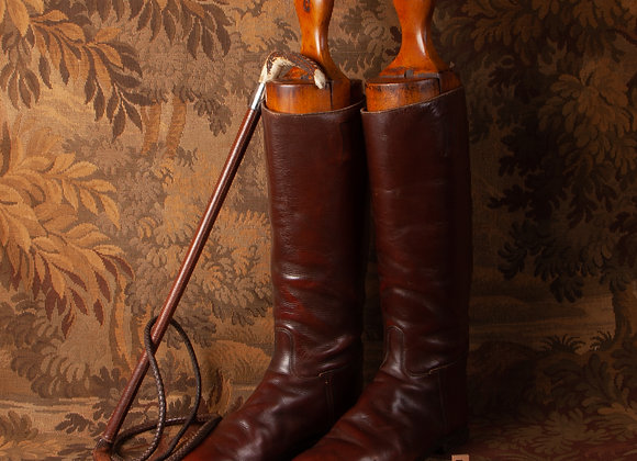 A Pair of Early 20th Century Leather Riding Boots with Boot Trees