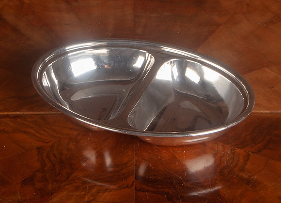 A Silver Plated Late Victorian Small Serving Dish with Two compartments