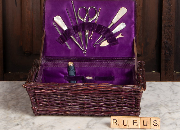 Victorian Sewing Basket and Contents