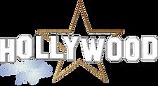 Hollywood mit Stern und Schrift in Hell.
