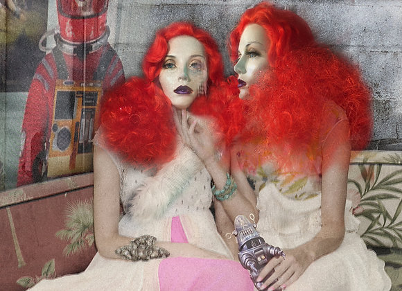 Two redheads created by Jennifer Graylock 20X20in framed sined print