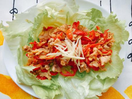 4.豚肉とパプリカと新生姜の味噌炒め、刻み新生姜のせ