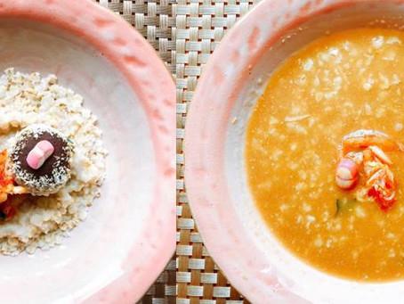 31.オートミールとキムチのmisodropリッチスープ